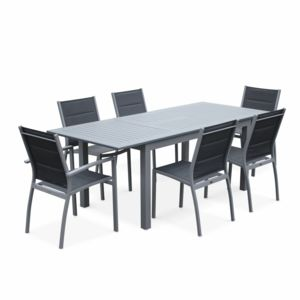 ALICE\'S GARDEN - Salon de jardin table extensible - Chicago 210 Gris ...