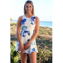 Fashion Mode 45 - Robe courte imprimée fleurs bleu Couleur - Bleu, Taille - Xl