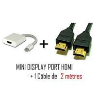 Cabling - Mini DisplayPort vers Hdmi + cable Hdmi 2 mètres - Cordon adaptateur vidéo pour Apple iMac-Unibody MacBook - Pro - Air et Pc avec Mini Dp etc