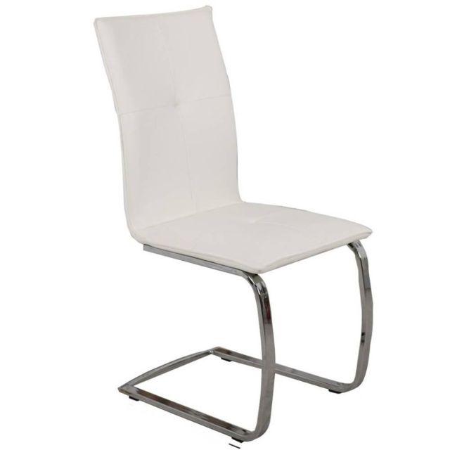 Inside 75 Chaise design Swing en tissu enduit polyuréthane simili façon cuir blanc piétement chromé type luge