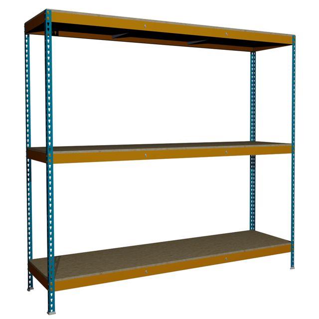Jomasi Étagère métallique modulaire. Modèle J600. Dim : H 2000 x L 2100 x P 600. 3 Niveaux. Bleu/Orange. Livré démonté