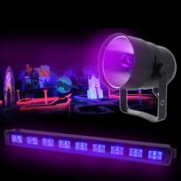 Ibiza Light - Pack Barre Uv Led 9x1W + Projecteur Lampe Lbl38
