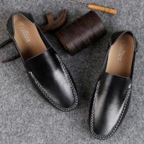 Chaussures à pois en cuir souples et confortables pour hommes Couleur Noir  Taille 41