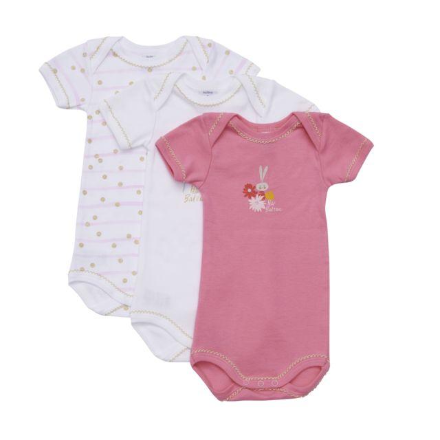 PETIT BATEAU - Lot de 3 Bodies bébé - pas cher Achat   Vente Sous ... 3967611d392