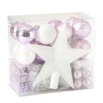 Feerie Christmas - Kit de décoration pour sapin de Noël - 44 Pièces - Rose et blanc