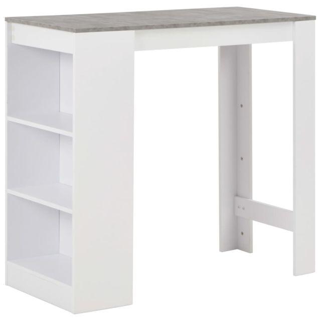 sublime Tables ensemble Banjul Table de bar avec étagère Blanc 110x50x103 cm