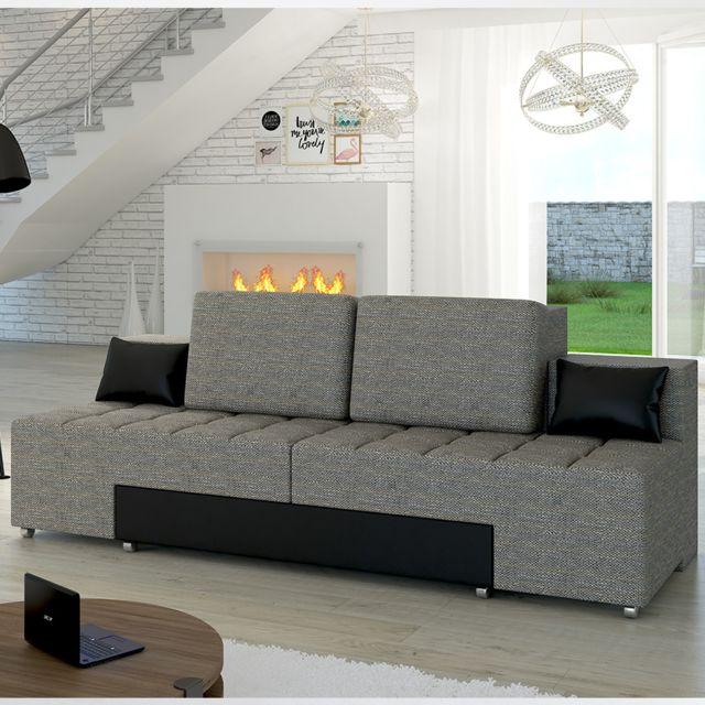 KASALINEA Canapé convertible gris et noir en tissu DARIO