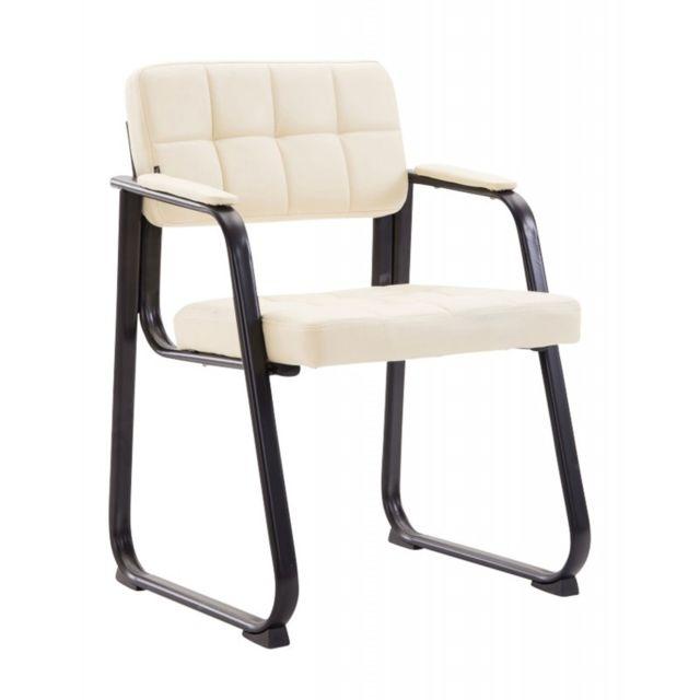 Chaise visiteur fauteuil de bureau sans roulette simili cuir crème Bur10224