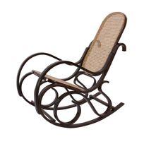 Mendler - Rocking-chair fauteuil à bascule, couleur noyer, rotin