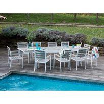 Les Essentiels by Dlm - Salon de jardin 10 places en aluminium et composite : 1 table extensible 213/316 cm + 10 fauteuils Lamia
