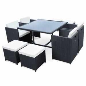 Soldes ALICEu0026#39;S GARDEN - Salon De Jardin 4-8 Places - Vasto - Coloris Noir Coussins U00e9crus Table ...