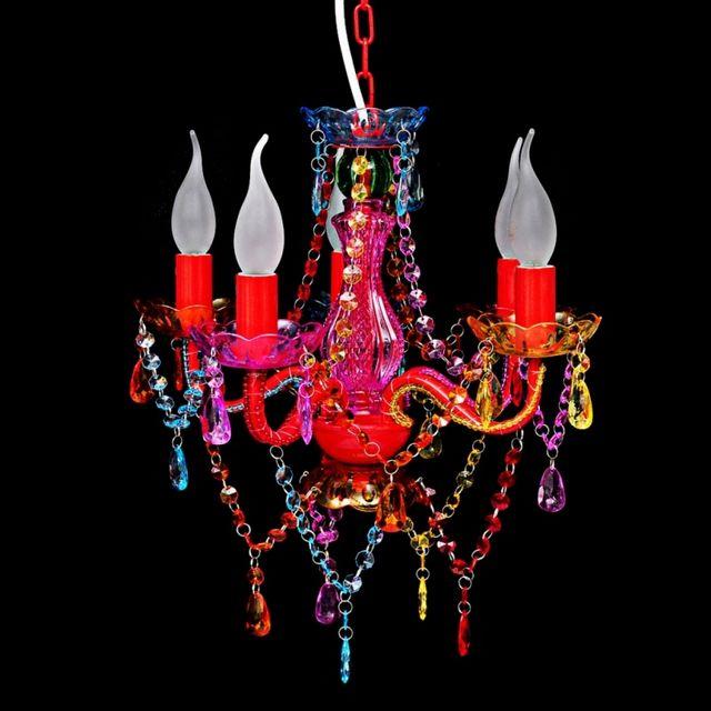 CASASMART Lustre en cristal multicolore