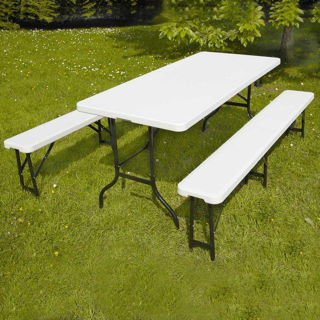 Table pliante 180 cm et 2 bancs pliables