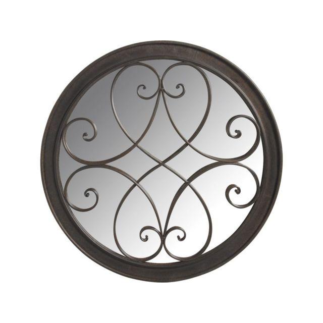 AUBRY GASPARD Miroir rond en métal