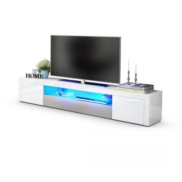 Mpc Meuble tv moderne laqué blanc et gris sablé 200 cm avec led