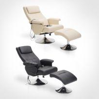 HOMCOM - Fauteuil de massage et relaxation électrique chauffant pivotant inclinable avec repose-pied crème neuf 33CW