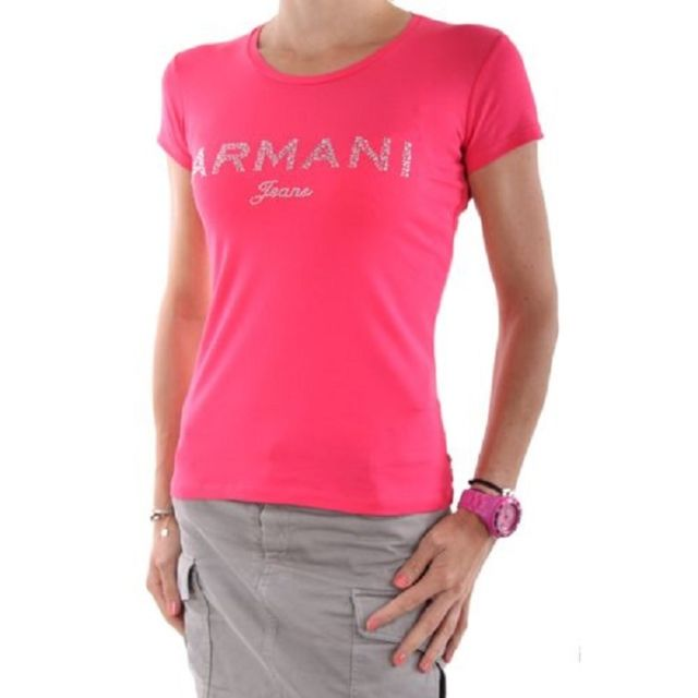 1a9a85b68f Armani Ea7 - Tee-Shirt Armani Jeans pour femmes manches courtes V5H17 rose  - pas cher Achat / Vente Tee-shirts, tops - RueDuCommerce