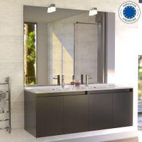 Creazur - Meuble salle de bain double vasque Proline 140 - Gris brillant