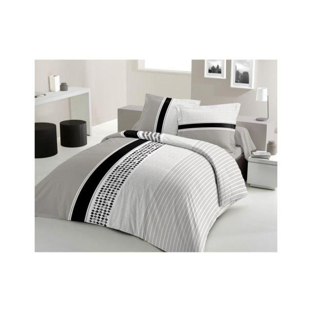 lovely home parure de couette mimosa 100 coton 1 housse de couette 240x260 cm 2 taies d. Black Bedroom Furniture Sets. Home Design Ideas