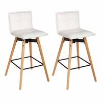 "Paris Prix - Lot de 2 Tabourets de Bar ""Atiel"" 96cm Blanc"
