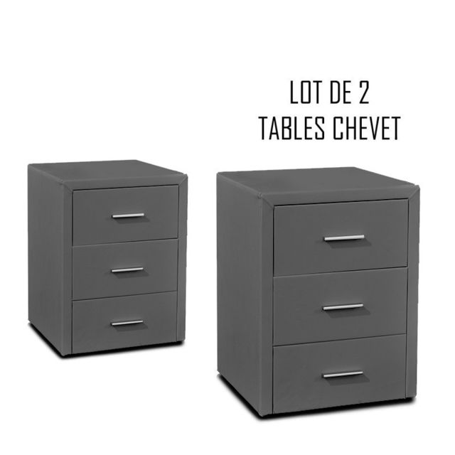 Meubler Design Table chevet 3 tiroirs Kasi Lot de 2 gris