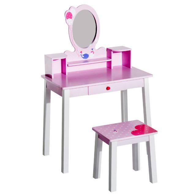 Soldes homcom coiffeuse enfant table de maquillage avec - Coiffeuse avec miroir et tabouret pas cher ...