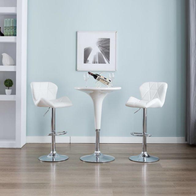 Esthetique Fauteuils et chaises ligne Katmandou Tabouret de bar Blanc Similicuir