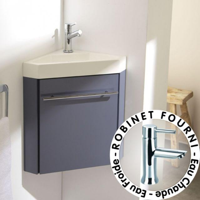 Planetebain - Lave-mains d\'angle complet avec meuble couleur gris ...