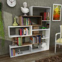 Alphamoebel - Bibliothèque étagère Marla blanc-noyer 139x22x151cm