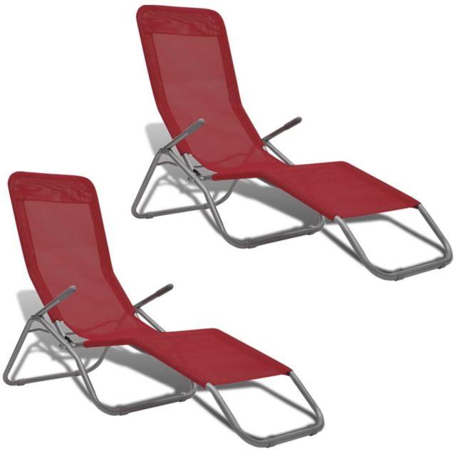 Vidaxl - VidaXL Chaise longue 2 pcs avec cadre pivotant Textilène Rouge e9c2fe75afe2