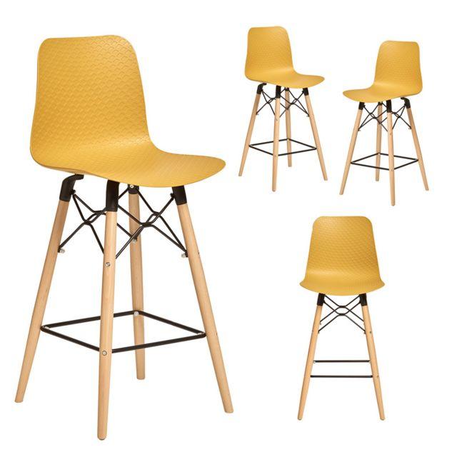 Chaise haute scandinave jaune Gin 4, lot de 4