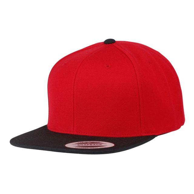 pas mal ca22b 6fe70 Casquette de baseball à visière plate - Adulte unisexe Taille unique,  Rouge/Noir Utrw3300