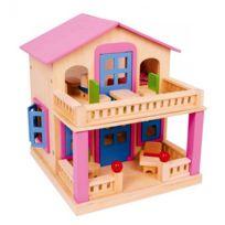 Legler - Très belle maison de poupée en bois avec toit aimanté amovible - Livrée avec 17 meubles