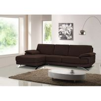 Linea Sofa - Canapé d'angle cuir luxe italien Emotion - Chocolat - Angle gauche