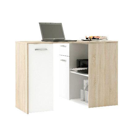 Bureau avec plateau pivoltant, 1 tiroir chêne brossé et blanc