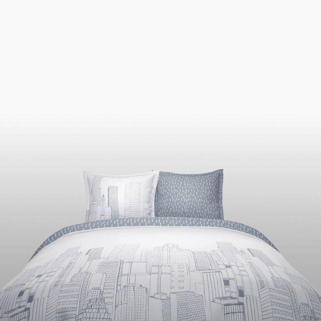 TEX HOME Parure ZIMMEUB housse de couette + 2 taies d'oreiller en coton Parure ZIMMEUB housse de couette 240x220 cm + 2 taies d'oreiller 65x65 cm en coton - blanc