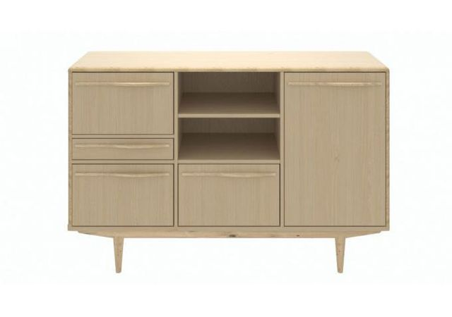 Declikdeco Buffet Scandinave Effet Chene Blanchi 180x50cm Ajna