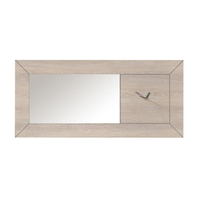Tousmesmeubles Miroir horloge Gris clair - Romeo - L 130 x l 4 x H 60