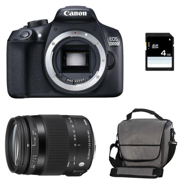 Canon Eos 1300D + Sigma 18-200mm F3.5-6.3 Os Contemporary Garanti 3 ans + Sac + Carte Sd 4Go