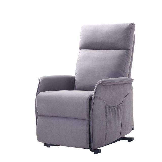 Tousmesmeubles Fauteuil Relax Releveur Tissu gris - Heinrick