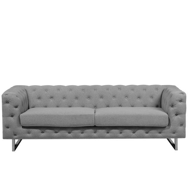 BELIANI Canapé style chesterfield en tissu gris clair VISSLAND