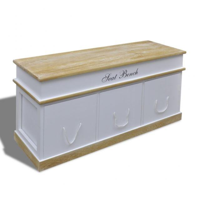 Marque Generique Banquette Banc Coffre De Rangement 100 Cm Blanc