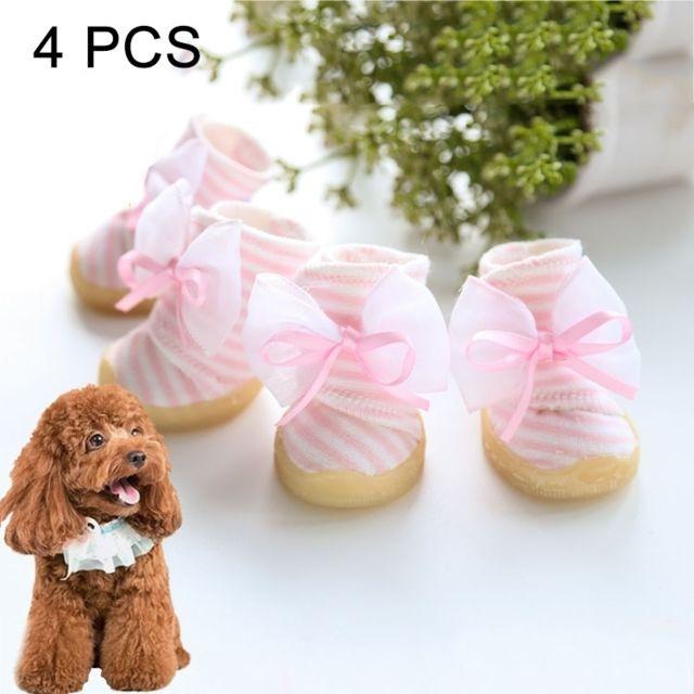 Wewoo Pour Chiens, Longueur: 4.5cm, Largeur: 4.0cm, Couleur Aléatoire et Style Livraison 4 Pcs Belle Bowknot Stripe Chaussures