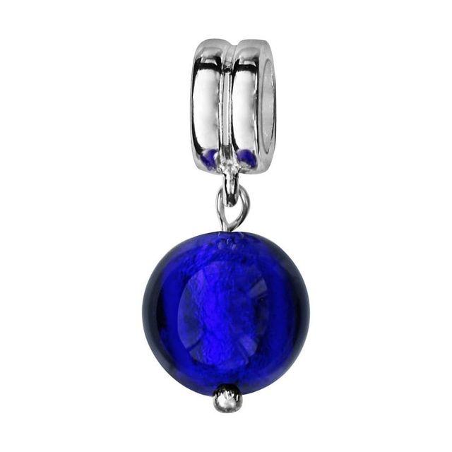 So Chic Bijoux © Charm Perle Pampille Verre Murano Bleu Argent 925 ,  Compatible Pandora, Trollbeads, Chamilia, Biagi