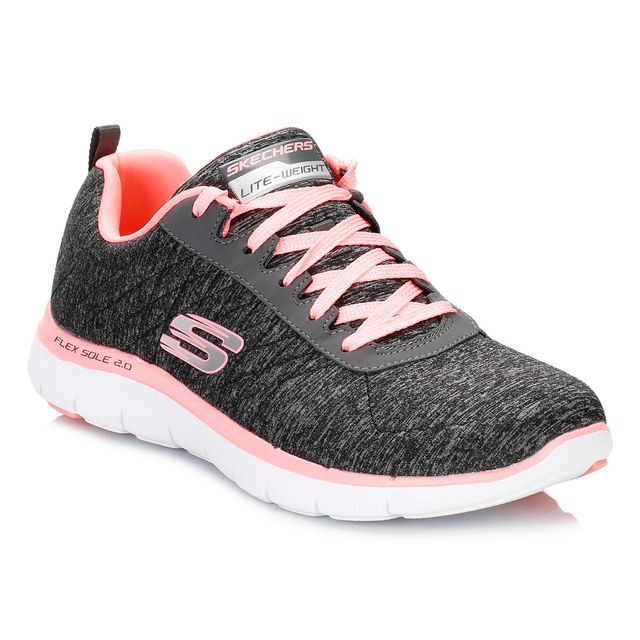 Skechers Womens BlackCoral Sport Flex Appeal 2.0 Trainers