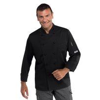 Isacco - Veste cuisine noire coupe slim pour Homme