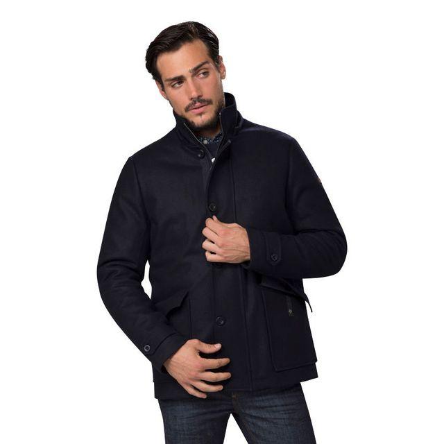 Redskins Manteau en drap de laine nautical blue - STARTEX SHETLAND -L Manteau en drap de laine avec col montant et capuche amovible