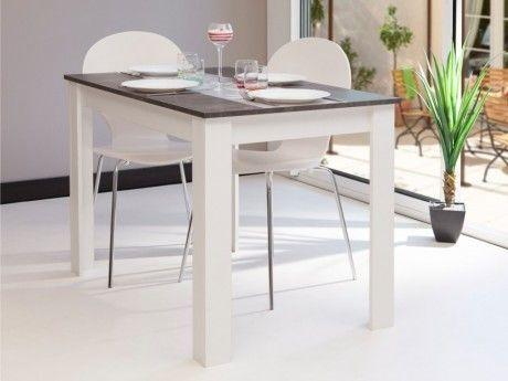 Vente unique table manger cassy ii 4 couverts blanc plateau effet b ton blanc gris for Carrefour table a manger