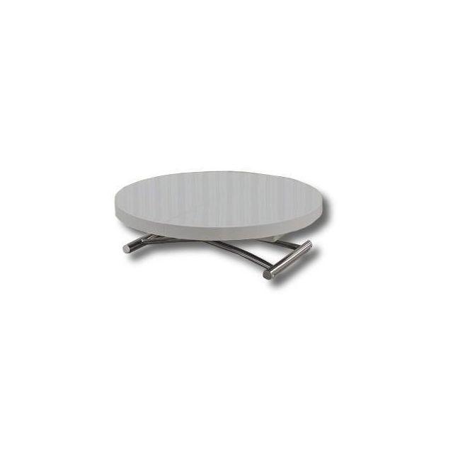 Inside 75 Table basse ronde relevable et extensible Saturna grise diamètre 90 cm