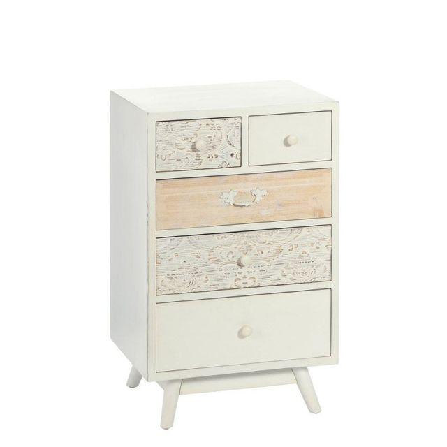 Ma Maison Mes Tendances Commode 5 tiroirs en Mdf et bois décoré et peint en blanc Cleia - L 50 x l 35 x H 82
